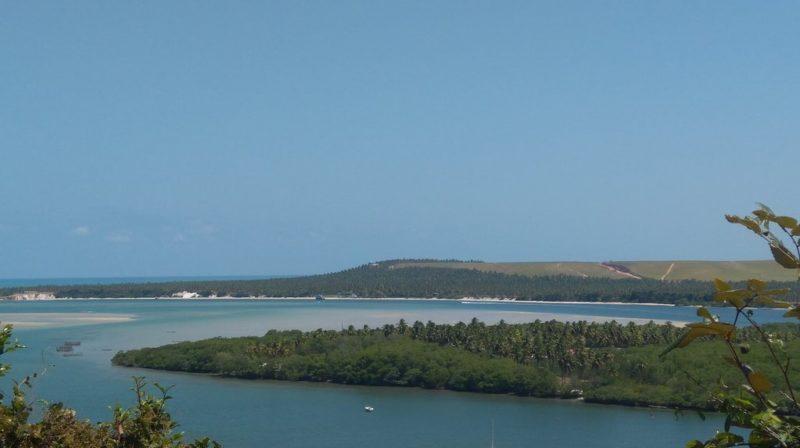Vista aérea da Praia das Conchas, Barra de São Miguel