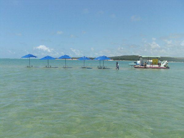 Ilha formada por bancos de areia, na Lagoa do Roteiro